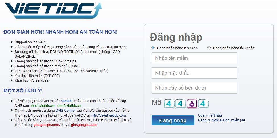 Hệ thống DNS Control của VietIDC