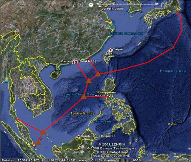 Sơ đồ tuyến cáp quang Việt Nam đi quốc tế